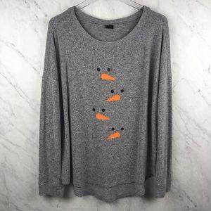 Free Press Grey Snowman Sweater, Size L